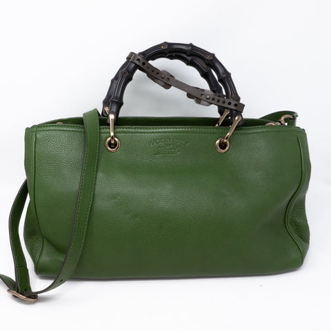 Bamboo Handle Tote Green Leather