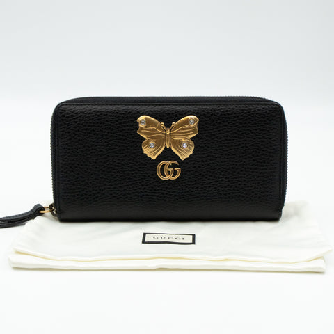 Butterfly Zip Around Wallet Black Leather
