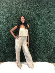 Champagne pleaded jumpsuit