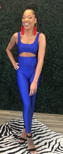 Open front blue bodysuit