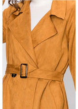 Load image into Gallery viewer, Camel Suede Wrap Jacket