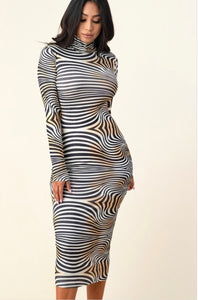 Two Tone Print Bodycon