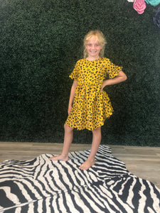 Kids cheetah ruffle dress