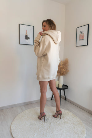 DON'T BE BASIC OVERSIZED BEIGE HOODIE