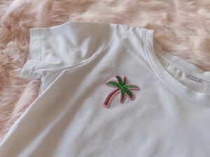 PALMTREE CROP TOP WHITE
