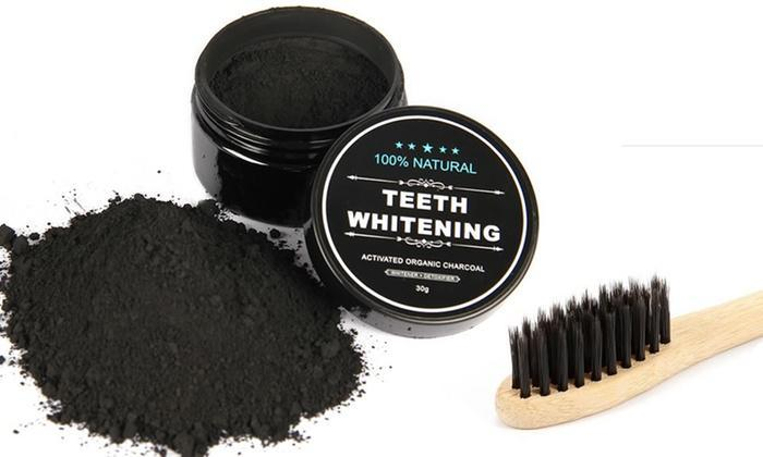 Natural Activated Charcoal Teeth Whitening W/ Bamboo Toothbrush - LaserGlowSpa
