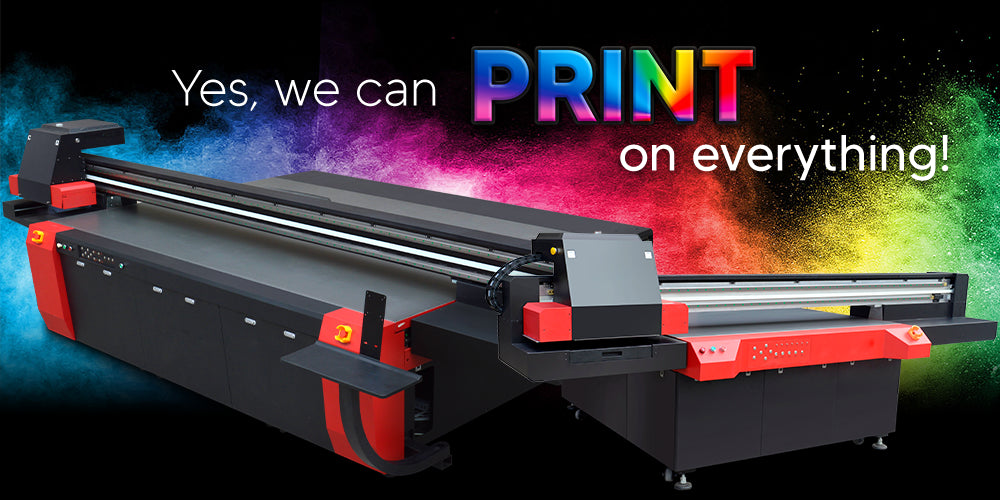 BesJet Large UV Flatbed Printer prints on everything glass ceramic vinyl graphic design Sign shops