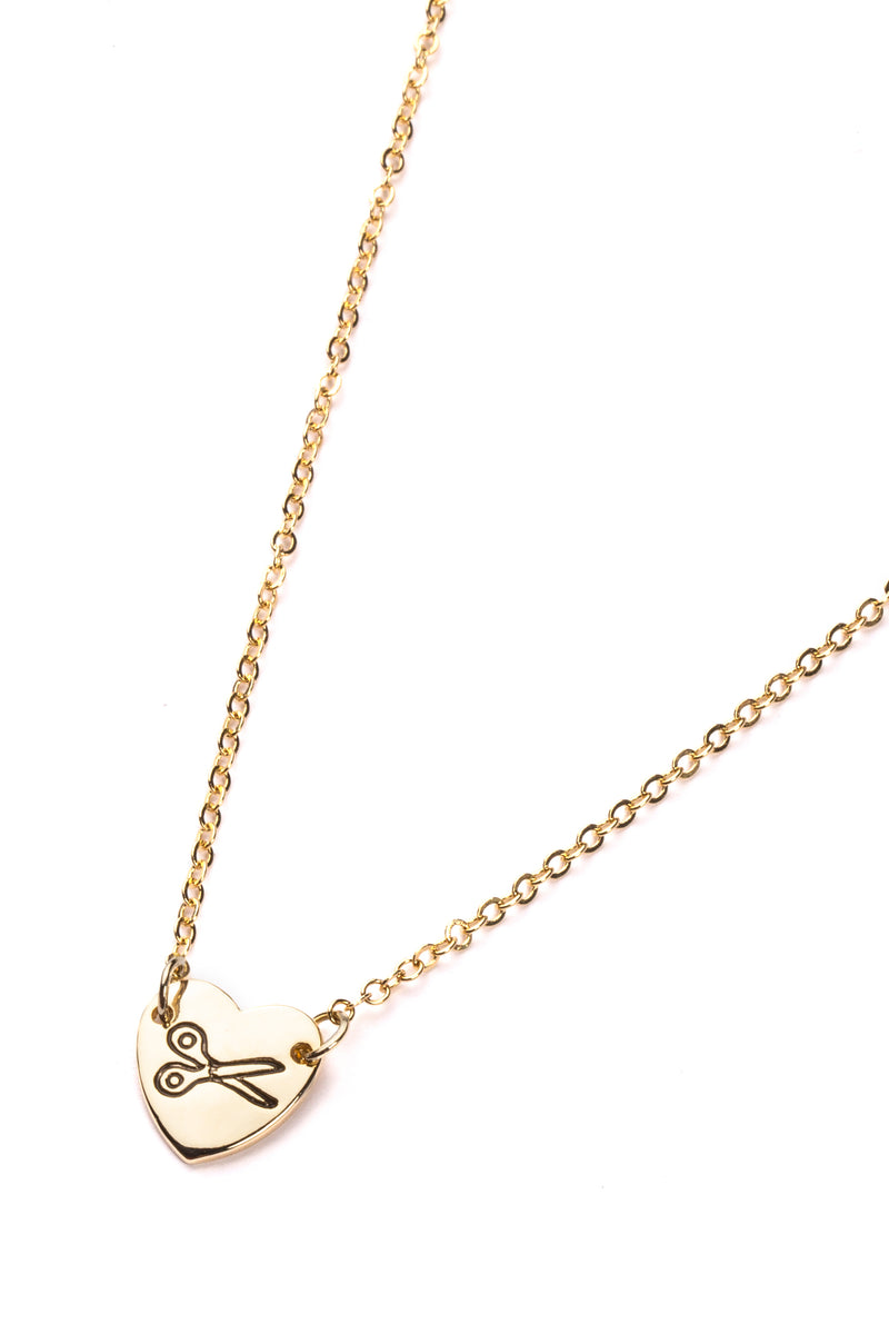 LaurDIY Heart Scissors Necklace - Gold
