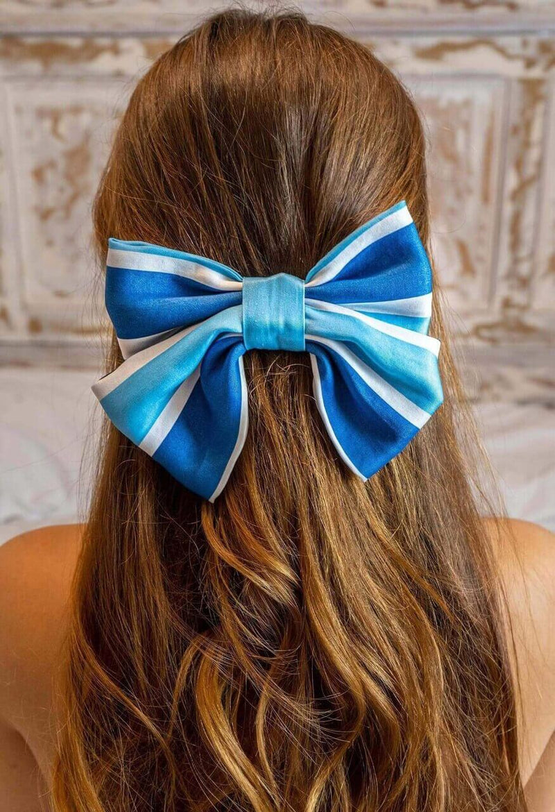 Blue stripe bow hair clip Hair bow clip Deeba London
