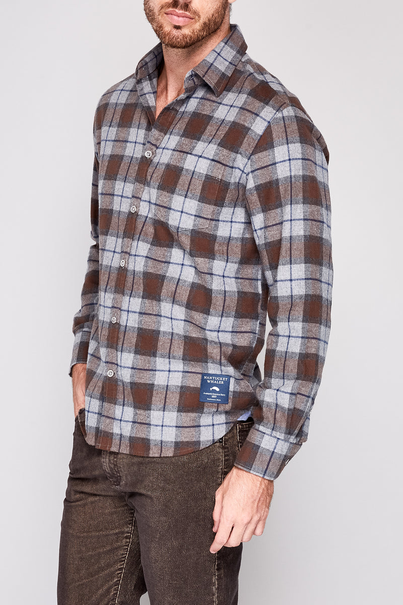 Bow Long Sleeve Plaid Flannel Shirt