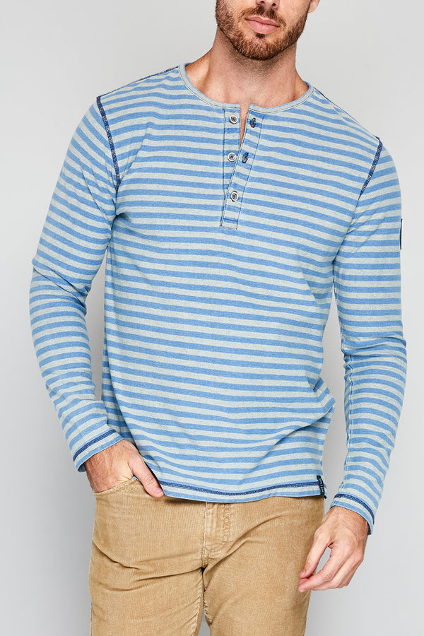 Luff Long Sleeve Stripe Henley Light Blue