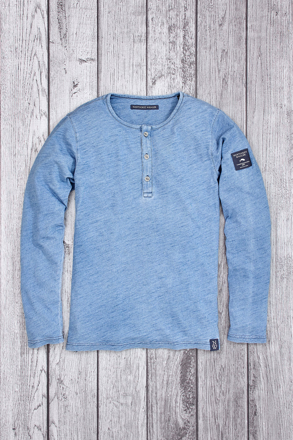 Gooseneck Long Sleeve Slub Knit Henley Light Blue