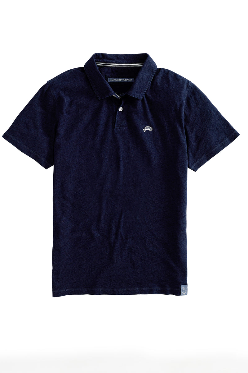 India Street Indigo Dyed Slub Polo