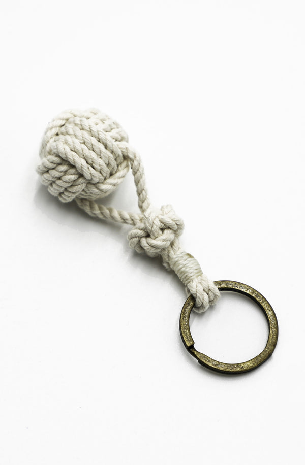 Monkey Fist Keychain in Natural with White/Natural trim