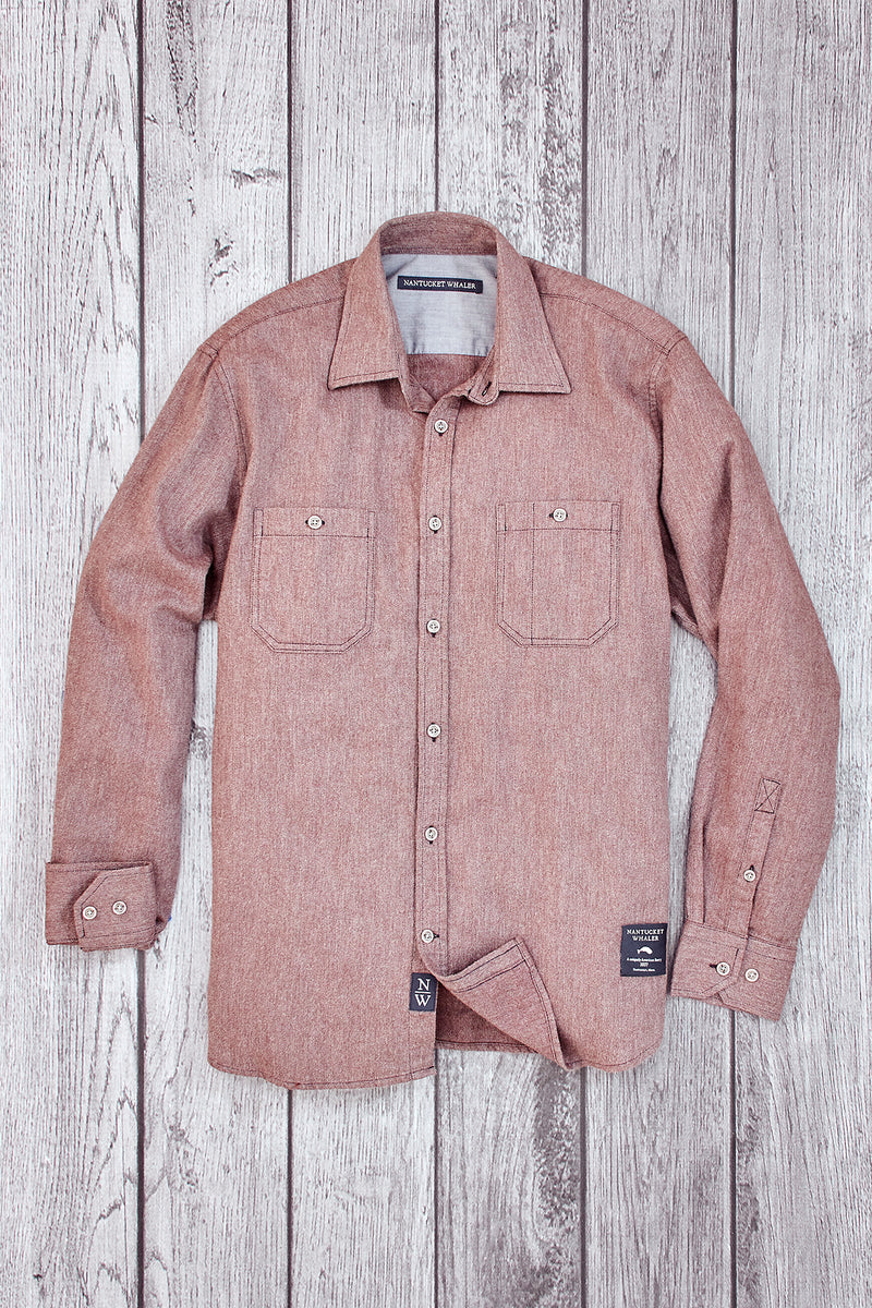 Mast Long Sleeve Twill Flannel Shirt Brown