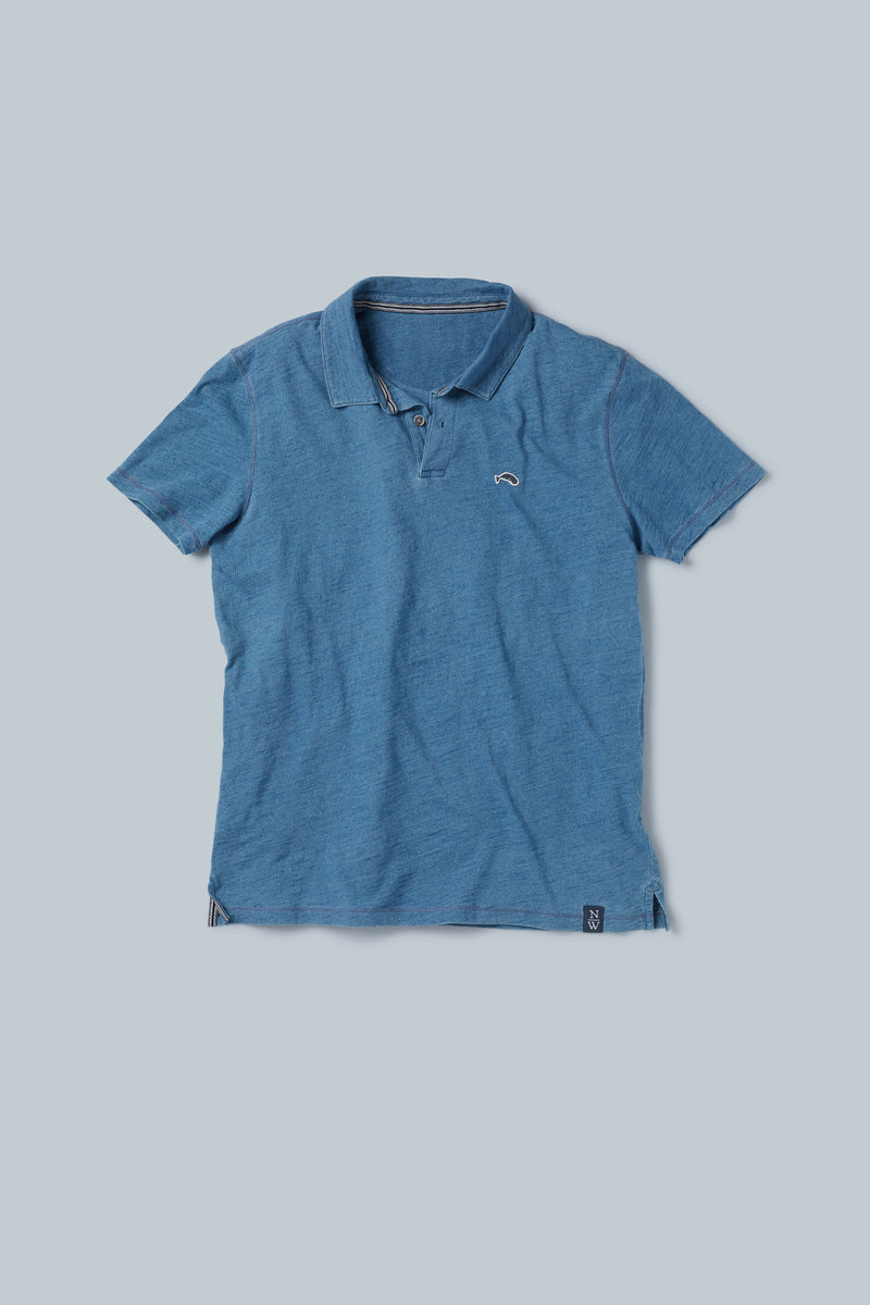 THE INDIA STREET Indigo-Dyed Three-Button Polo