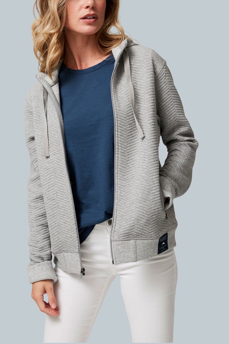 THE SNUGGER Knitted Herringbone Zip Front Hoodie