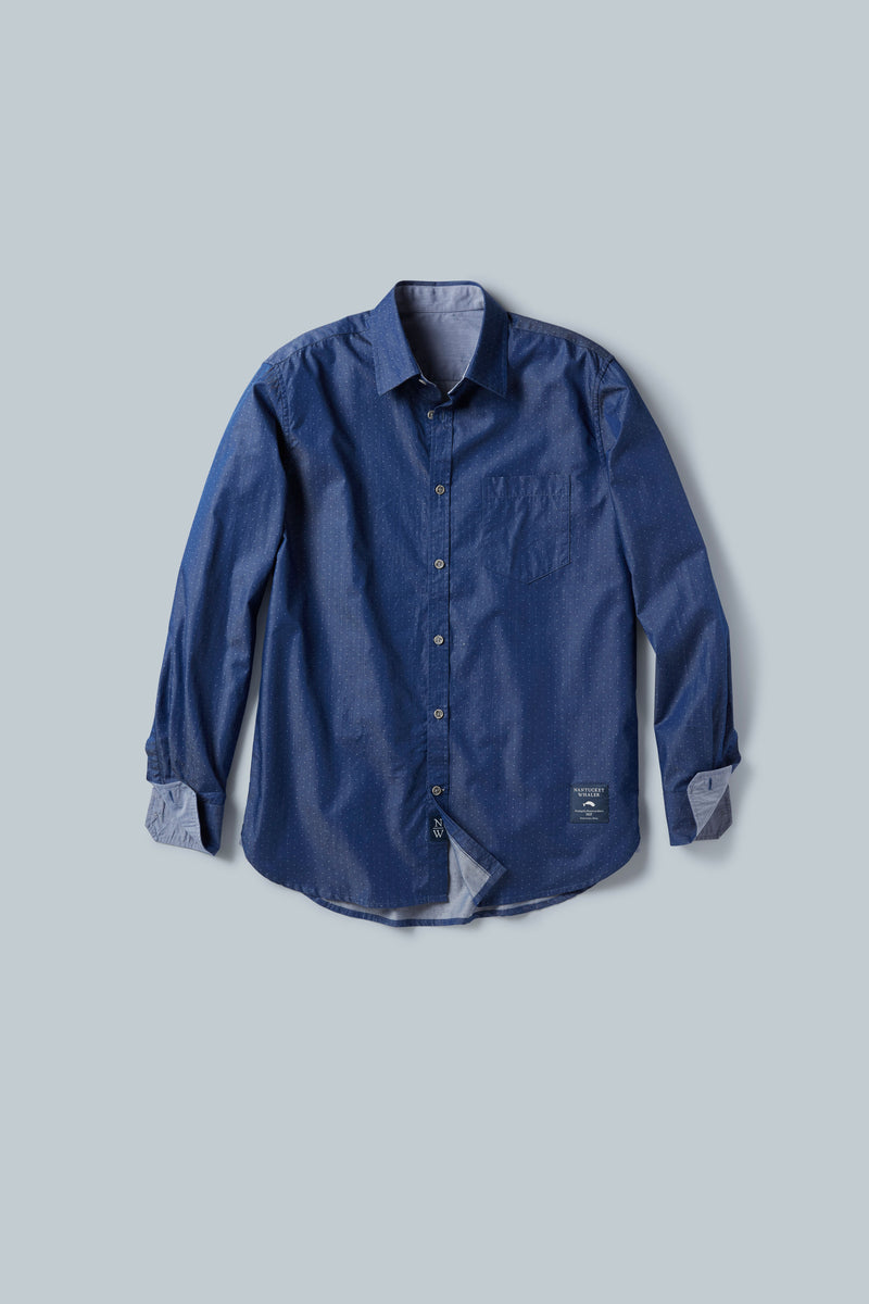 THE CHARTER Long Sleeve Point Collar Pindot Shirt