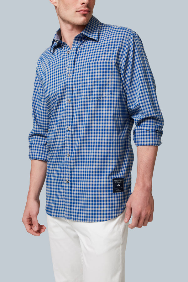 THE COTTAGE CHECK Chambray Trim Checked Long Sleeve