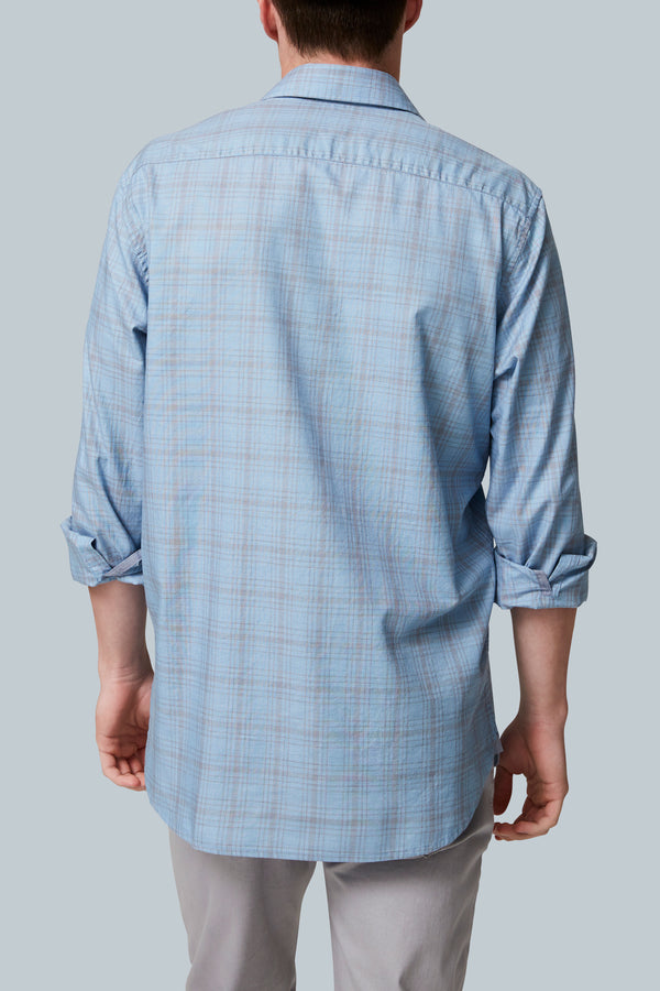THE GRID <br><h6>Heathered Plaid One Pocket Long Sleeve