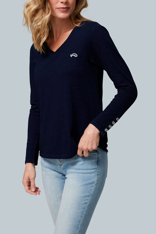 THE MARINE V Women's Long Sleeve V Neck Button Cuff Top Indigo Slub