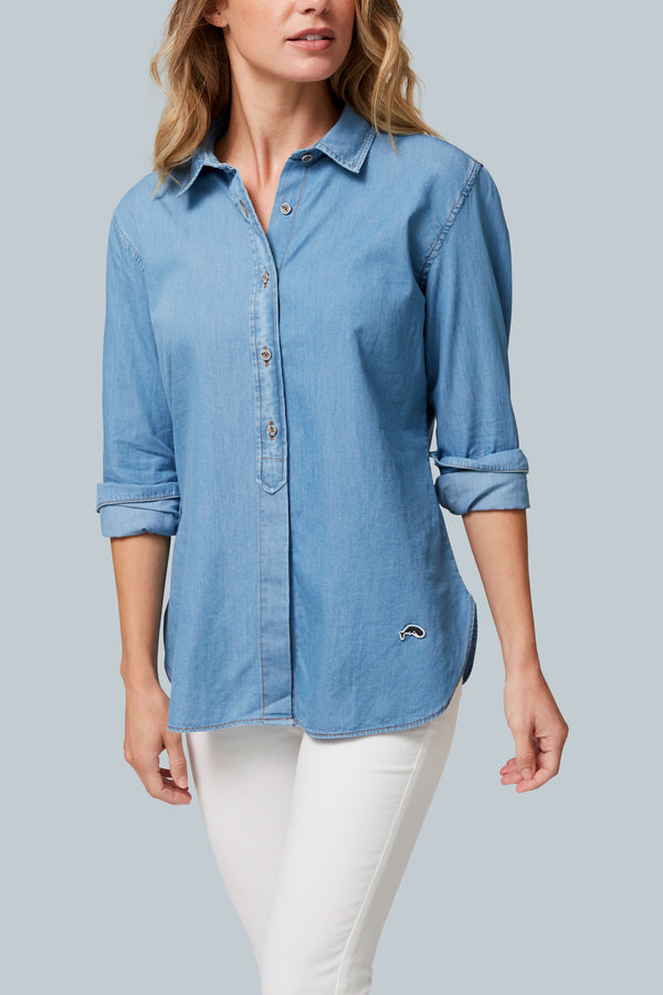 THE SKIPPER Indigo Cotton Woven Shirt