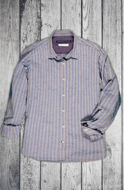 Women's Pebble Texture Stripe Indigo Shirt