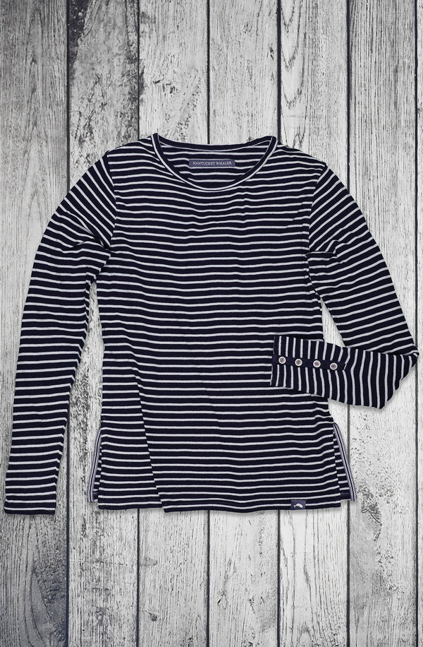 Women's Seaworthy Long Sleeve Indigo Stripe Crew