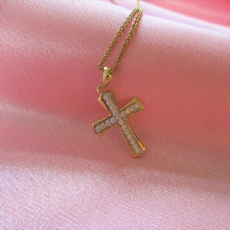 cross necklace in real gold