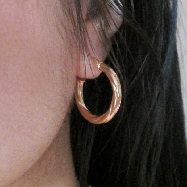 9ct Gold Chunky Spiral Hoops