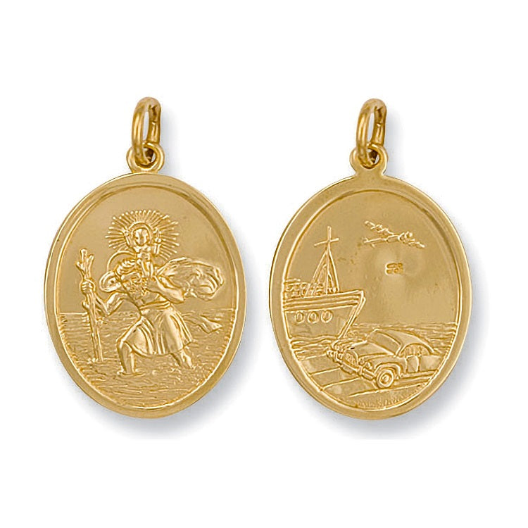 Double Sided 9ct Yellow Gold St Christopher Oval Pendant Necklace - Sparkly Dolls