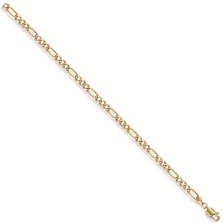 Rhodium Plated Figaro Anklet in 9ct Yellow Gold - Sparkly Dolls