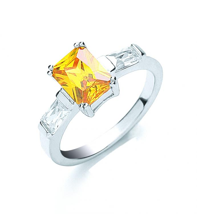 Solitaire Amber Sterling Silver Ring - Sparkly Dolls