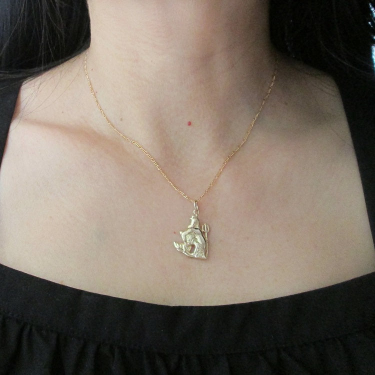 Aquarius star sign necklace in 9ct yellow gold