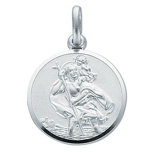 Large Double Sided St Christopher Round Pendant Sterling Silver Necklace - Sparkly Dolls