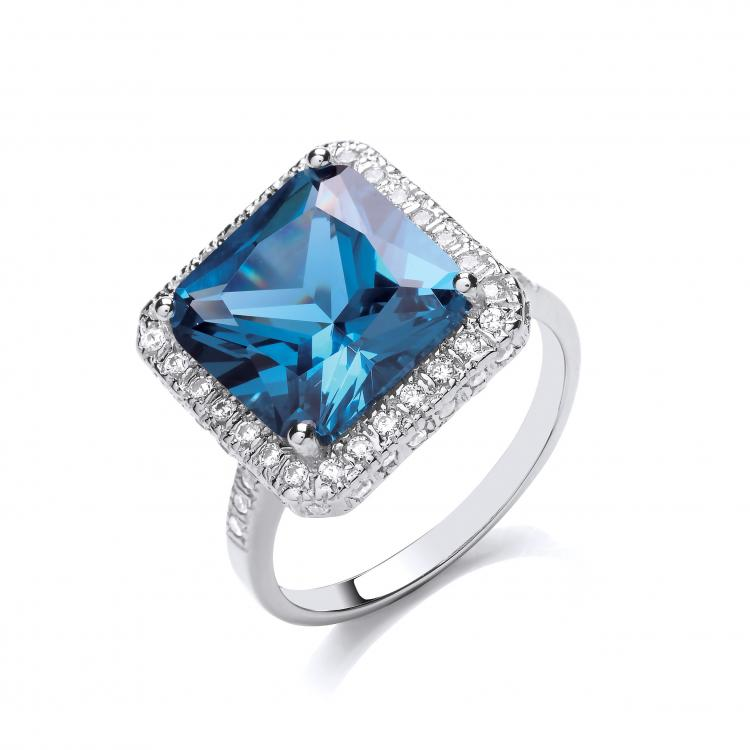 sapphire blue cz silver ring