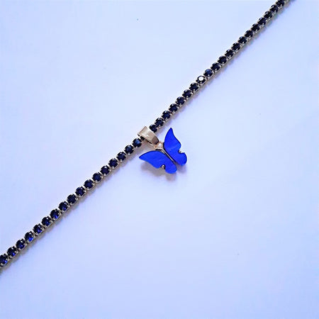 Crystal Blue Butterfly Choker - Sparkly Dolls