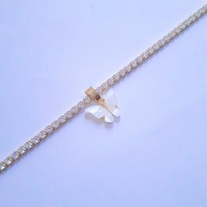 Crystal White Butterfly Choker - Sparkly Dolls