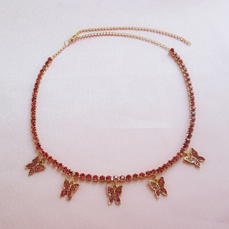Icy Pink Butterfly Choker Gold - Sparkly Dolls
