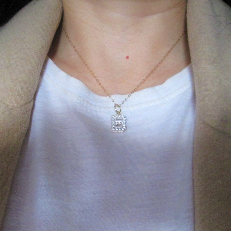 personalised initial necklace with cz stone letter in 9ct yellow gold uk