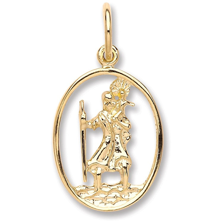 Cut Out 9ct Yellow Gold St Christopher Pendant Necklace - Sparkly Dolls