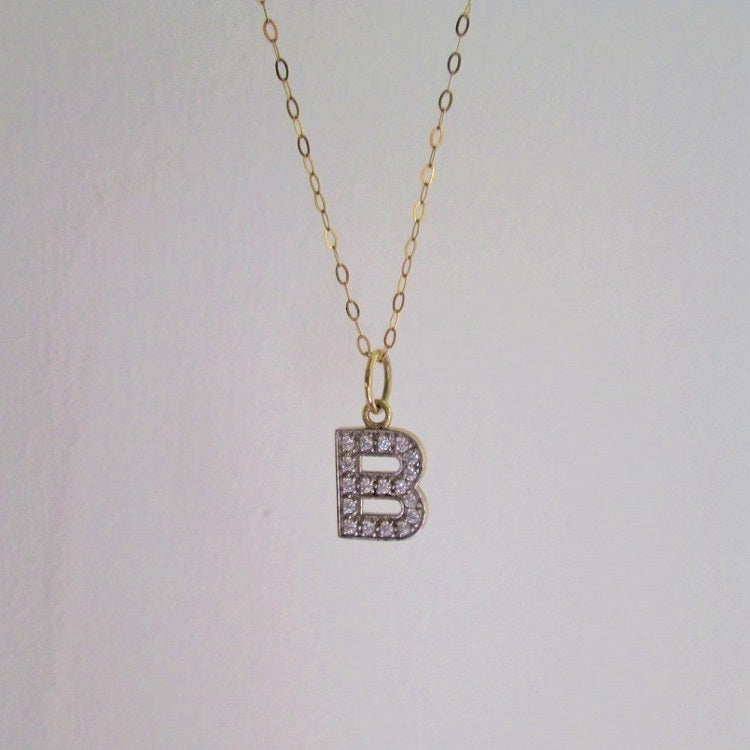 9ct Gold CZ Initial Necklace - Sparkly Dolls