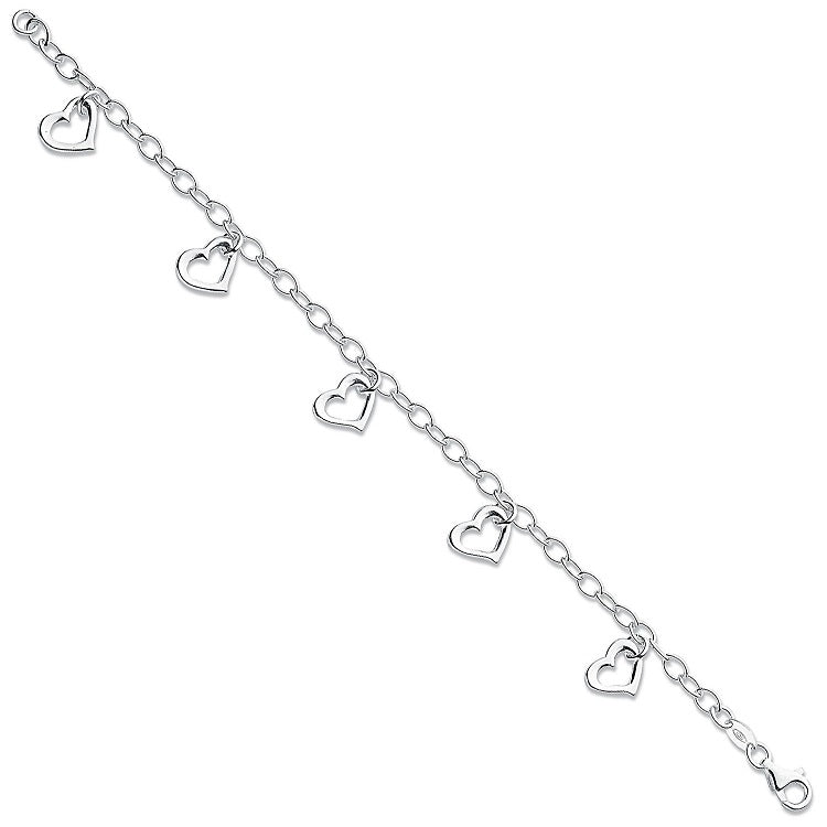 dangling heart bracelet in sterling silver