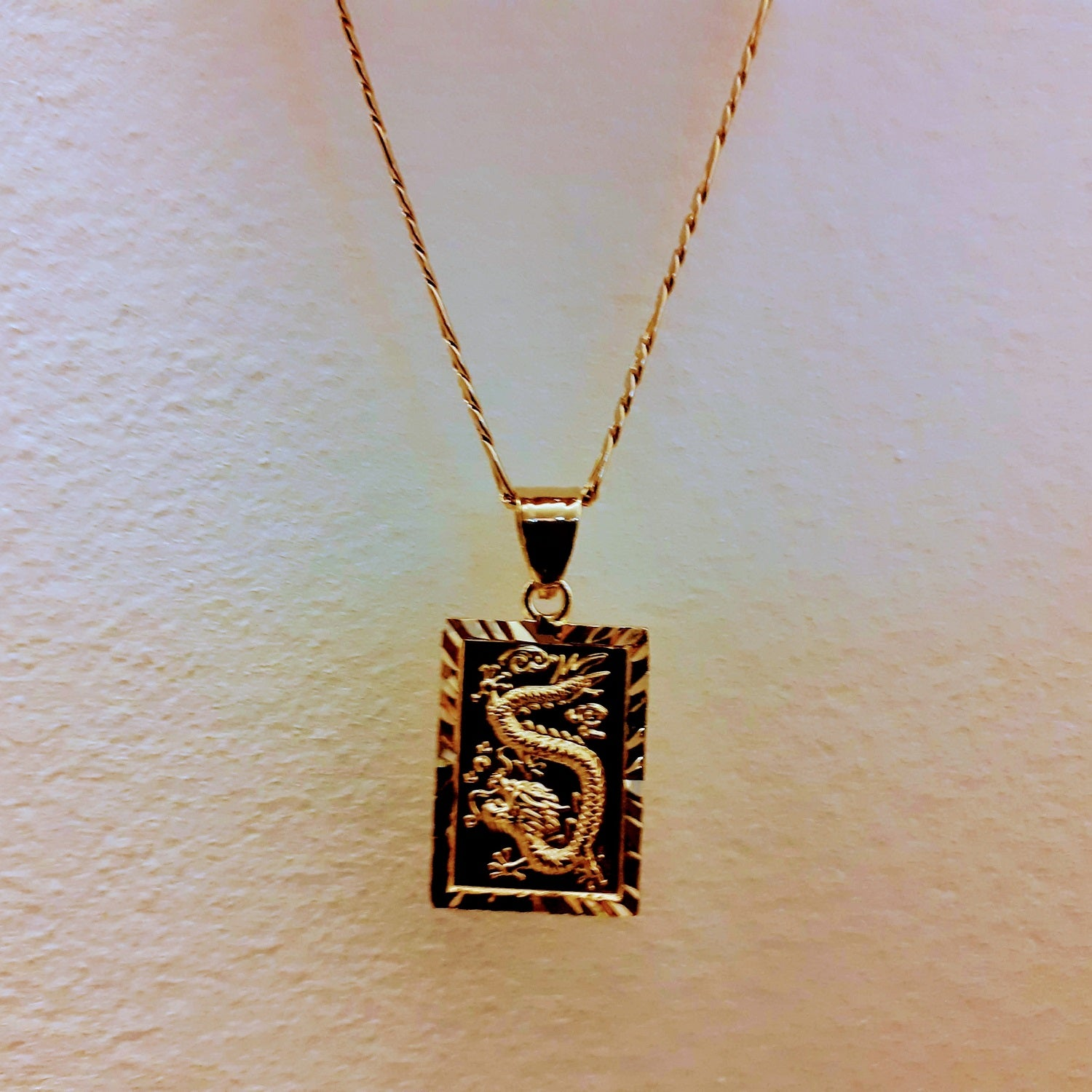dragon tablet necklace with figaro chain
