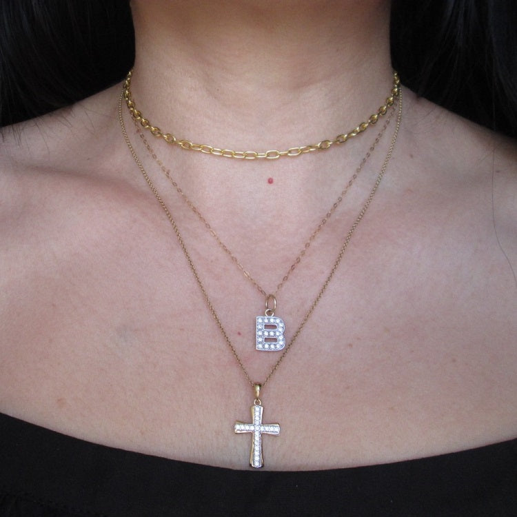 cross necklace in 9ct solid gold