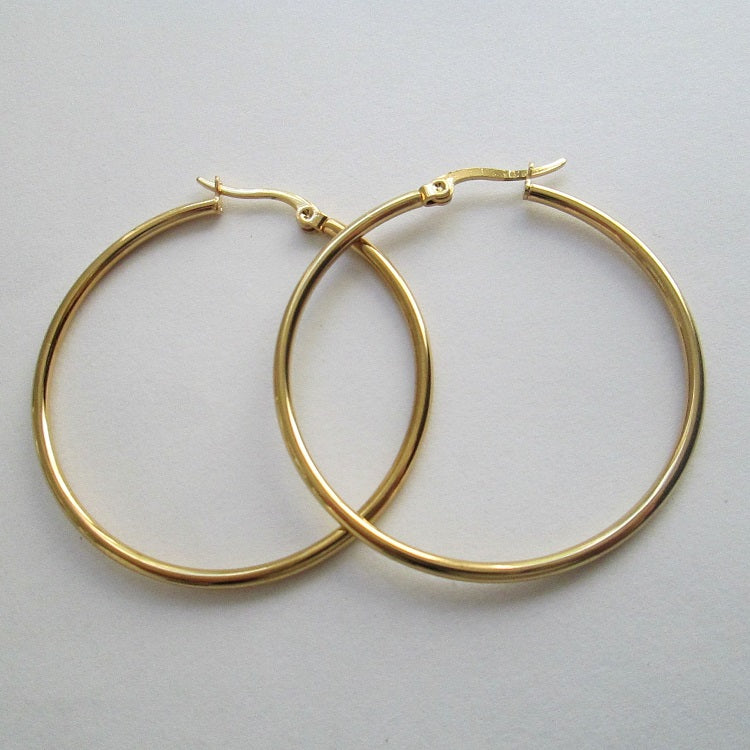 Gold Hoop Earrings 40mm - Sparkly Dolls