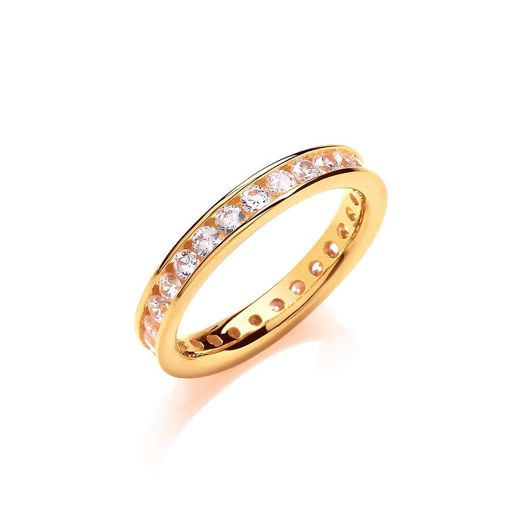 Gold Vermeil Full Eternity Ring 3mm - Sparkly Dolls
