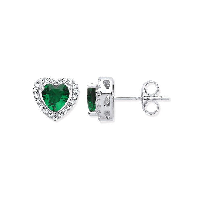 Green Cubic Zirconia Diamond Heart Studs - Sparkly Dolls