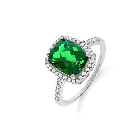 Micro Pave Green CZ Sterling Silver Ring - Sparkly Dolls