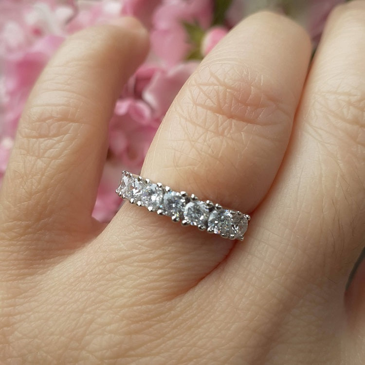 Half Eternity Sterling Silver Ring - Sparkly Dolls